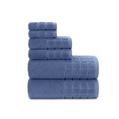Dobby Check Double 6 Piece Towel Set Color: Blue Yonder