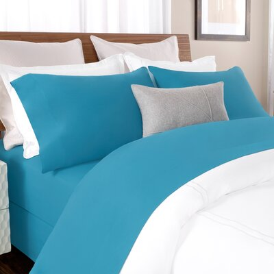 100% Cotton Solid Percale Sheet Set Size: Queen, Color: Blue