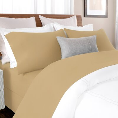100% Cotton Solid Percale Sheet Set Size: King, Color: Tan