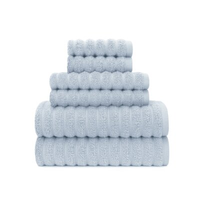 Zero Twist High Low Rib 6 Piece Towel Set Color: Cashmere Blue