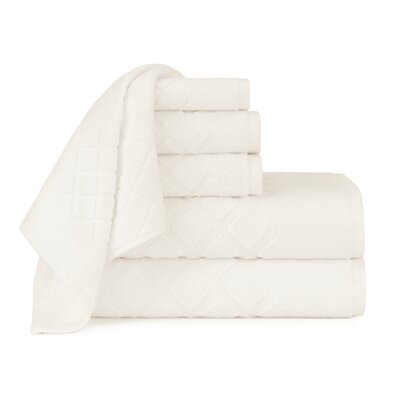 Diamond Jacquard 6 Piece Towel Set Color: Cloud Dancer