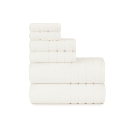 Dobby Check Double 6 Piece Towel Set Color: Cloud Dancer