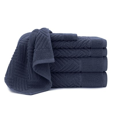 Jacquard Bars 6 Piece Towel Set Color: Mood Indigo