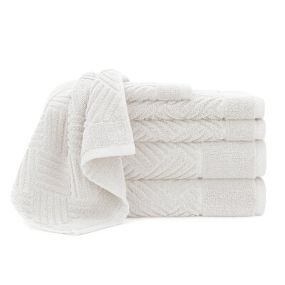 Jacquard Bars 6 Piece Towel Set Color: White Sand