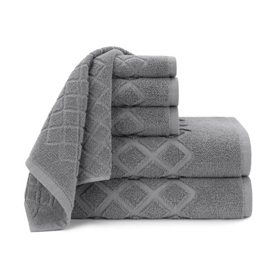 Diamond Jacquard 6 Piece Towel Set Color: Steel Gray