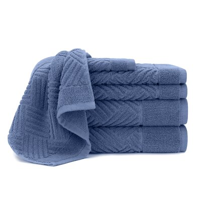 Jacquard Bars 6 Piece Towel Set Color: Blue Yonder