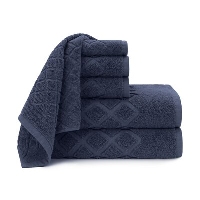 Diamond Jacquard 6 Piece Towel Set Color: Mood Indigo