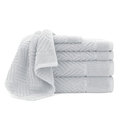 Jacquard Bars 6 Piece Towel Set Color: Vapor Blue
