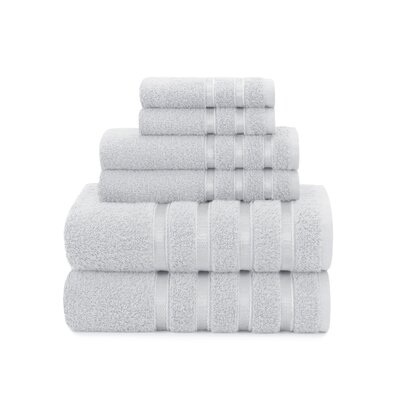 Viscose Stripe 6 Piece Towel Set Color: Vapor Blue