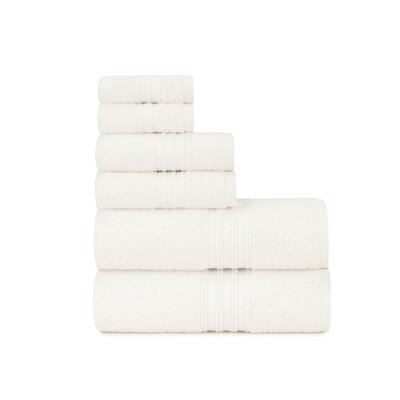 Luxury Soft Ring Spun 6 Piece Towel Set Color: Cloud Dancer