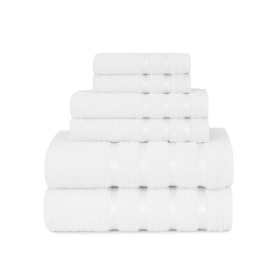 Viscose Stripe 6 Piece Towel Set Color: White