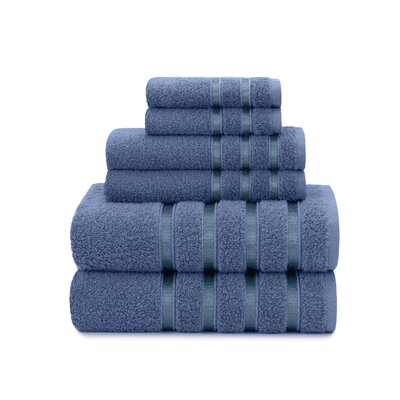 Viscose Stripe 6 Piece Towel Set Color: Blue Yonder