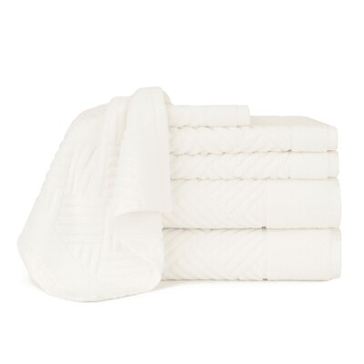 Jacquard Bars 6 Piece Towel Set Color: Cloud Dancer