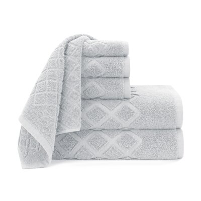 Diamond Jacquard 6 Piece Towel Set Color: Vapor Blue