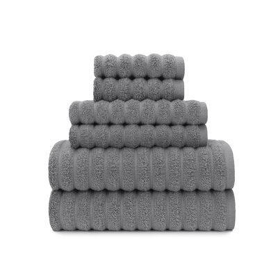 Zero Twist High Low Rib 6 Piece Towel Set Color: Steel Gray