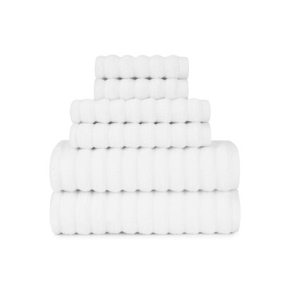 Zero Twist High Low Rib 6 Piece Towel Set Color: White