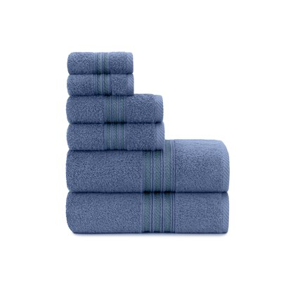 Luxury Soft Ring Spun 6 Piece Towel Set Color: Blue Yonder