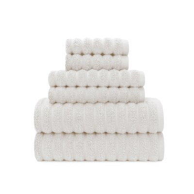 Zero Twist High Low Rib 6 Piece Towel Set Color: White Sand