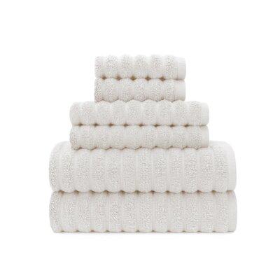 Zero Twist High Low Rib 6 Piece Towel Set Color: White Sand