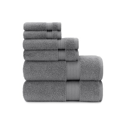 Zero Twist Plush 6 Piece Towel Set Color: Steel Gray