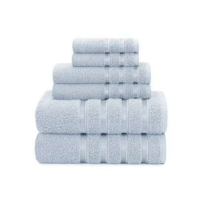 Viscose Stripe 6 Piece Towel Set Color: Cashmere Blue
