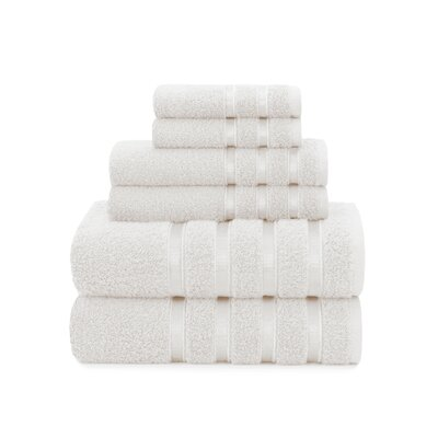 Viscose Stripe 6 Piece Towel Set Color: White Sand