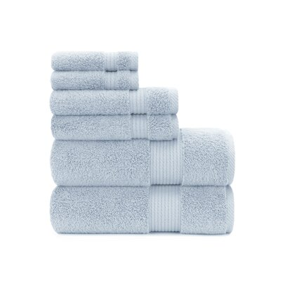 Zero Twist Plush 6 Piece Towel Set Color: Cashmere Blue