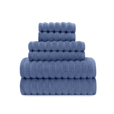 Zero Twist High Low Rib 6 Piece Towel Set Color: Blue Yonder