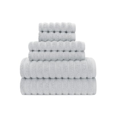 Zero Twist High Low Rib 6 Piece Towel Set Color: Vapor Blue