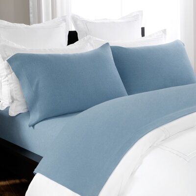 100% Cotton Heathered Jersey Sheet Set Size: Full, Color: Blue