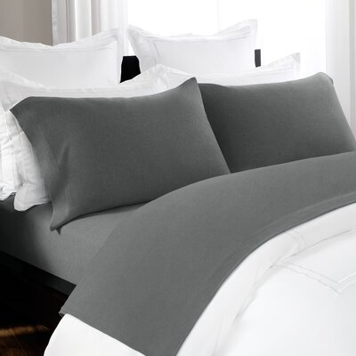 100% Cotton Heathered Jersey Sheet Set Color: Charcoal, Size: King