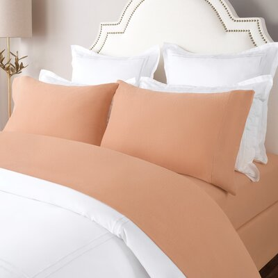 100% Cotton Solid Flannel Sheet Set Size: King, Color: Tan