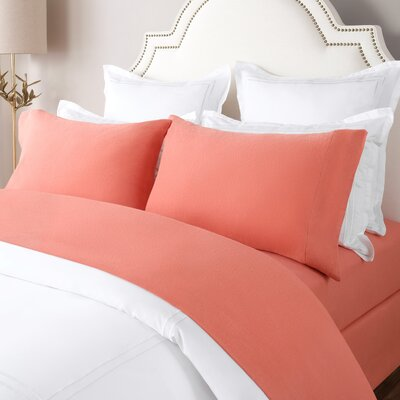 100% Cotton Solid Flannel Sheet Set Size: King, Color: Brandy