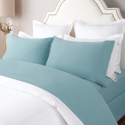100% Cotton Solid Flannel Sheet Set Size: King, Color: Stone Blue