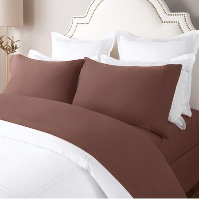 100% Cotton Solid Flannel Sheet Set Size: King, Color: Maroon
