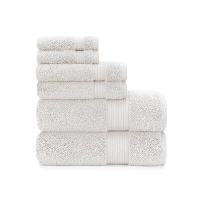 Zero Twist Plush 6 Piece Towel Set Color: White Sand