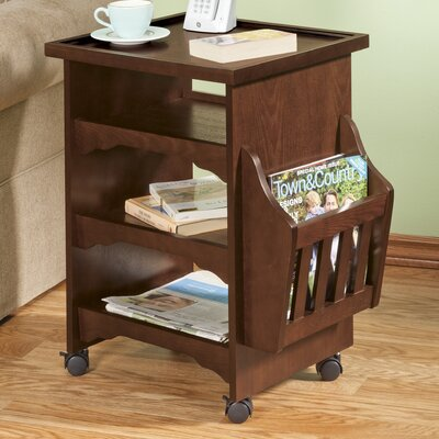 Deluxe Rolling Multipurpose End Table Finish: Mahogany