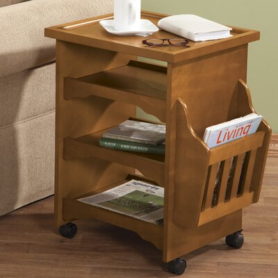 Deluxe Rolling Multipurpose End Table Finish: Honey