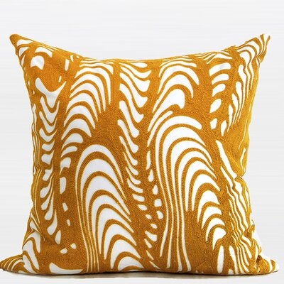 Luxury Warp Embroidered Pillow Cover Color: Yellow