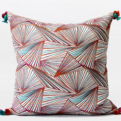 Luxury Geometric Tassels Throw Pillow Color: Orange