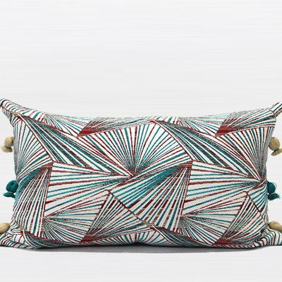 Luxury Geometric Tassels Lumbar Pillow Color: Green