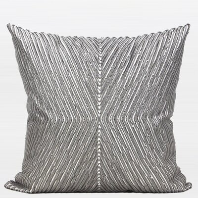 Luxury Handmade Textured Beaded Throw Pillow Color: Gray