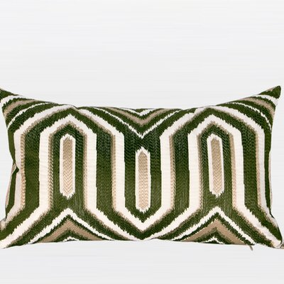 Luxury Classical Geometry Embroidered Lumbar Pillow Color: Green