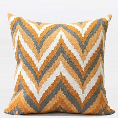 Luxury Chevron Embroidered Throw Pillow Color: Yellow