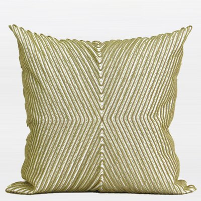 Luxury Handmade Textured Beaded Throw Pillow Color: Green