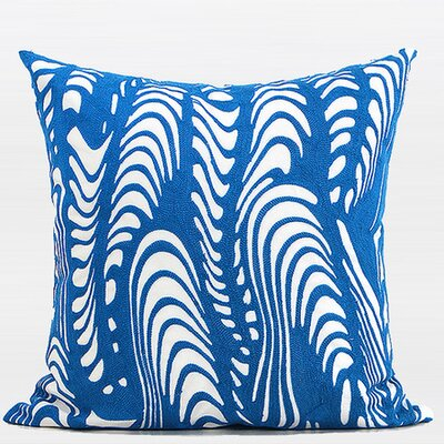 Luxury Warp Embroidered Throw Pillow Color: Blue