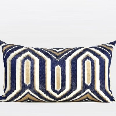Luxury Classical Geometry Embroidered Lumbar Pillow Color: Blue