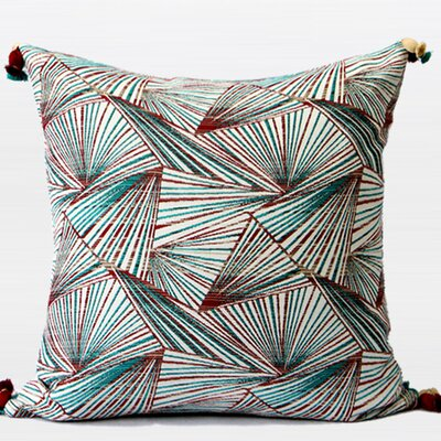 Luxury Changing Geometric Tassels Pillow Cover Color: Green