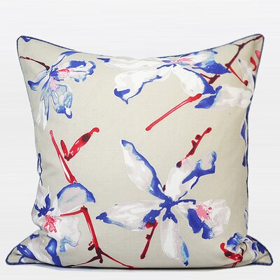 Luxury Flower Printing Throw Pillow Color: Blue