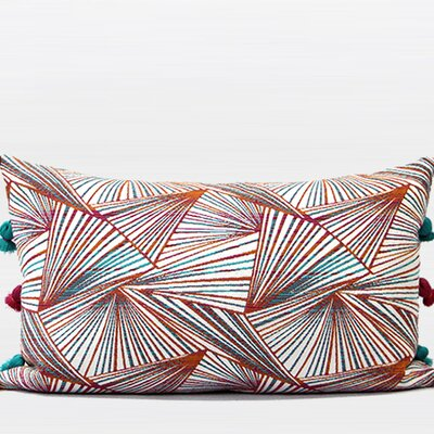 Luxury Changing Geometric Tassels Pillow Cover Color: Orange